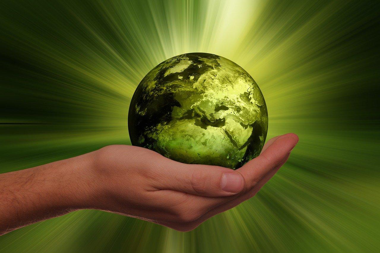 手のひらにグリーンの地球