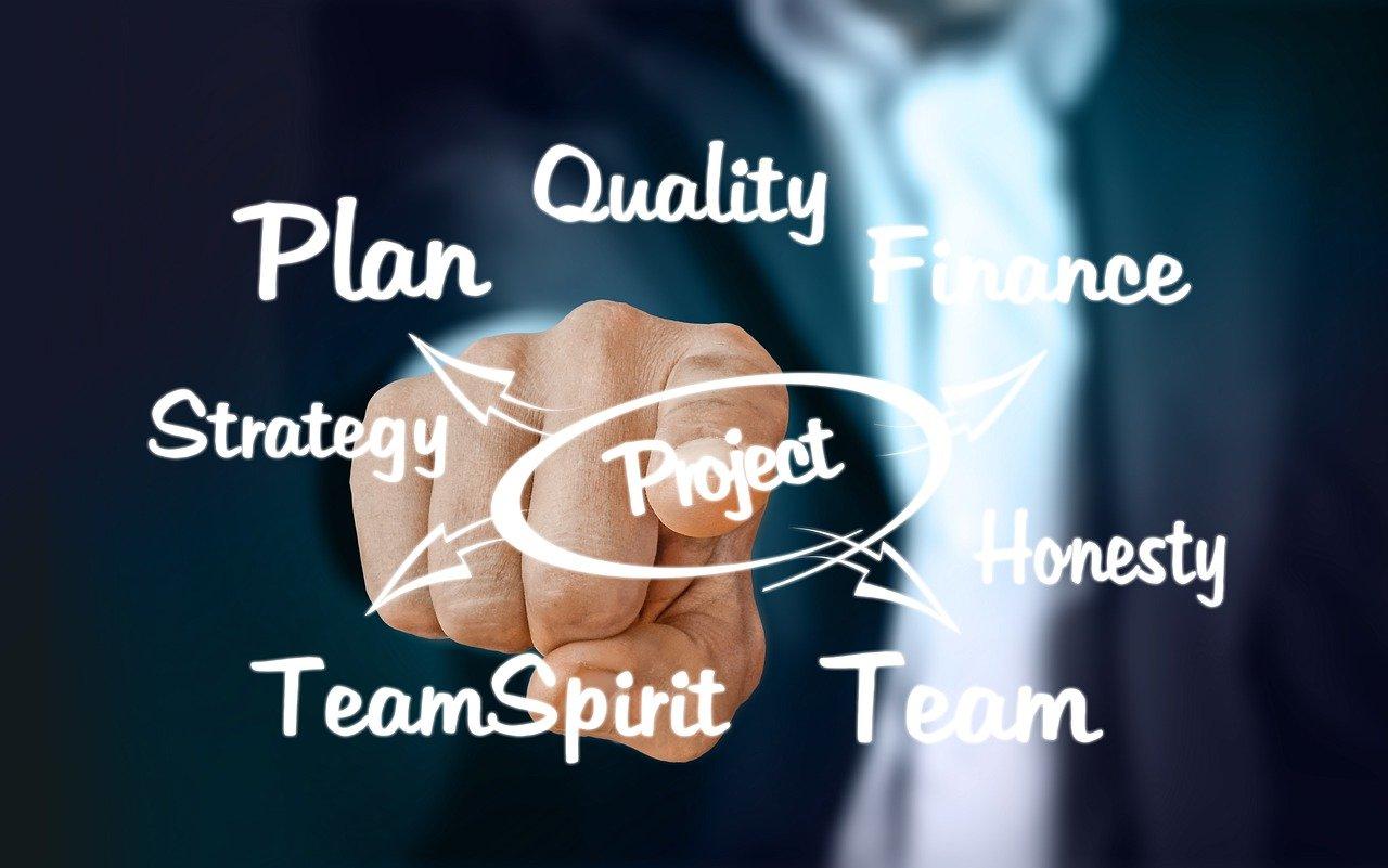 スーツの男性が指差すProjectの文字、周りにはstrategy、team、planなどの文字