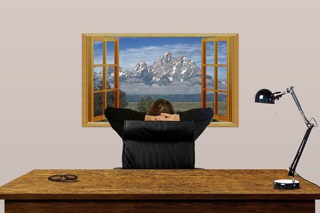 desk, office, window