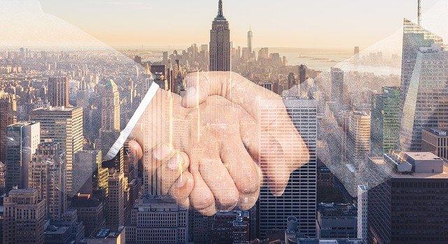 shaking hands, handshake, skyline