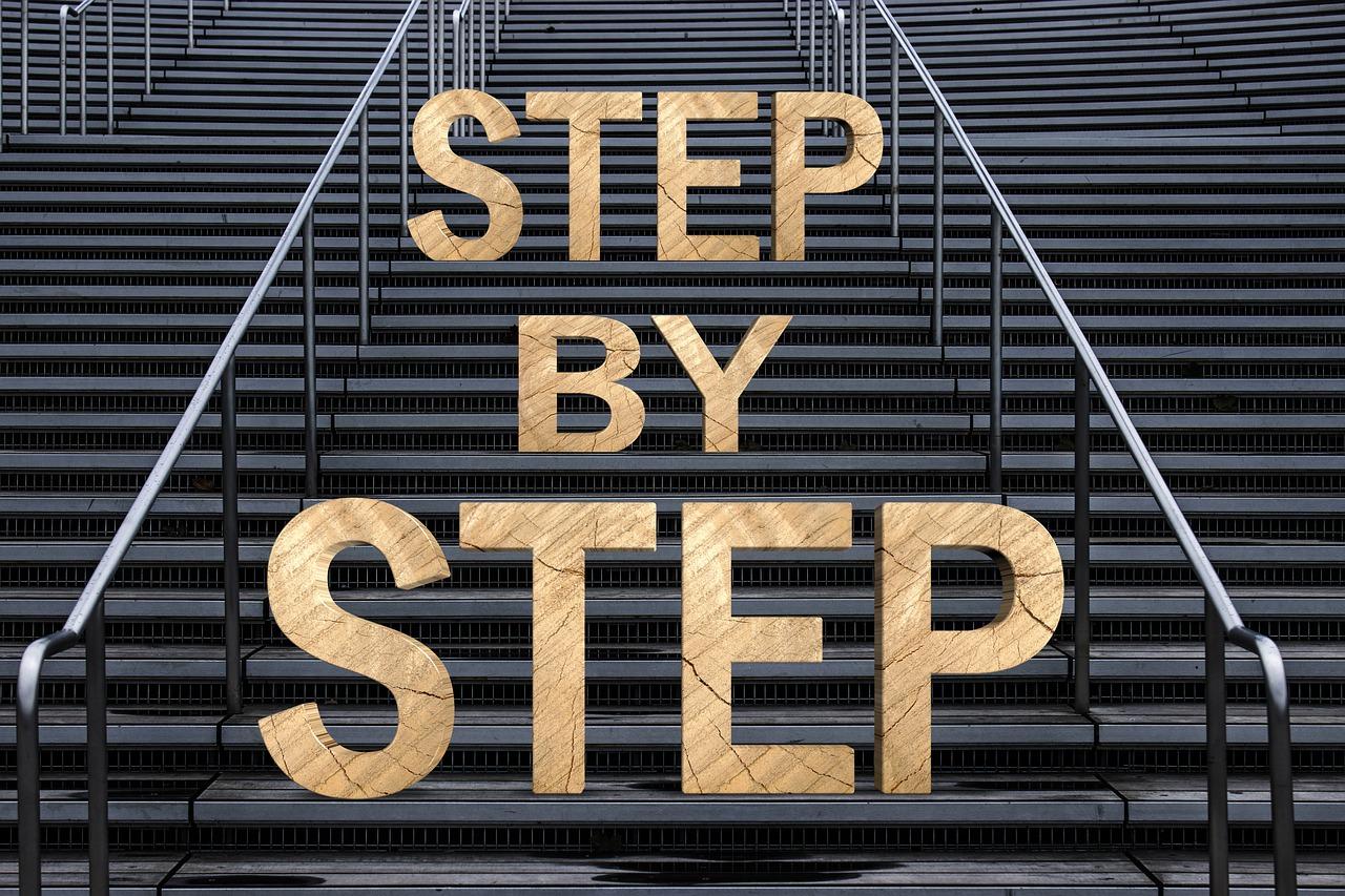 階段とSTEP BY STEPの文字
