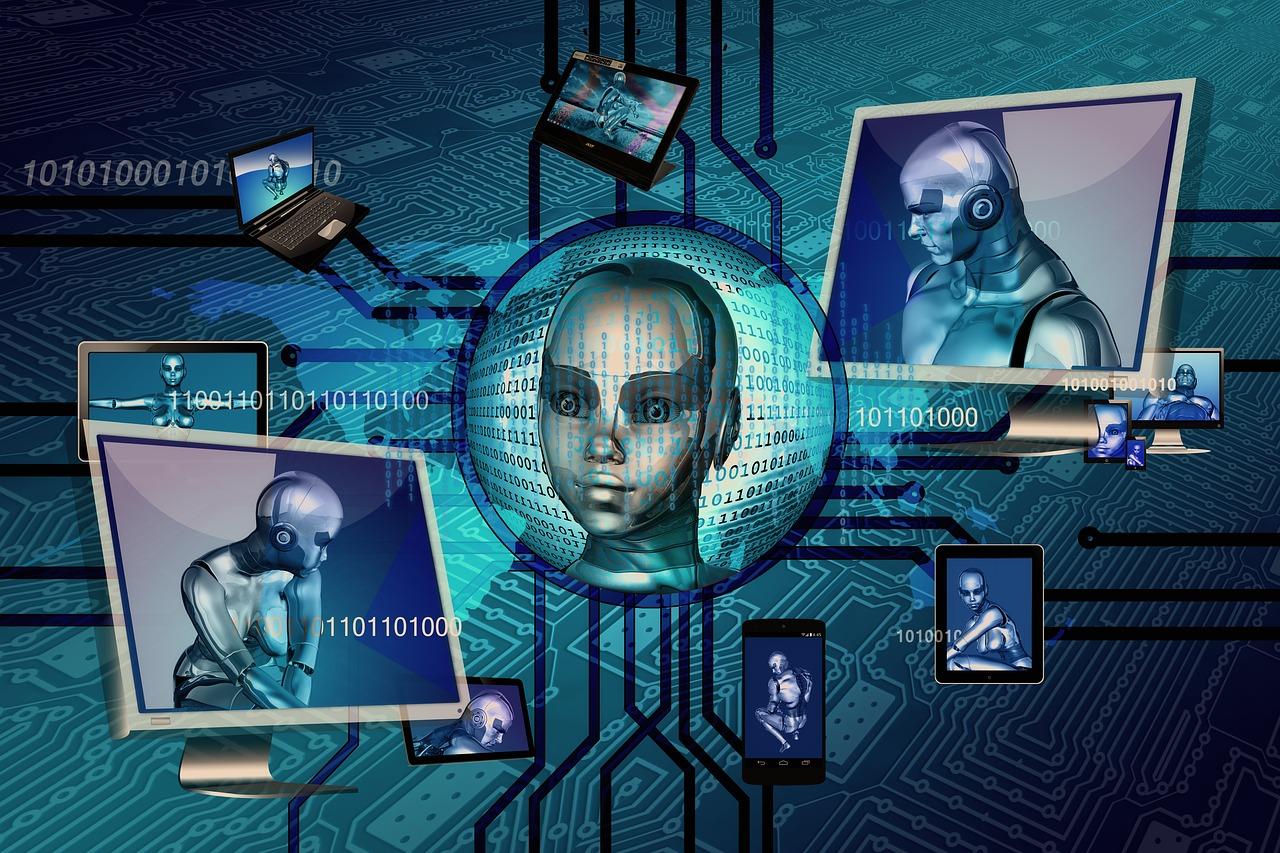 PCやスマホ、バイナリーコードの球体に映るAIロボットの顔