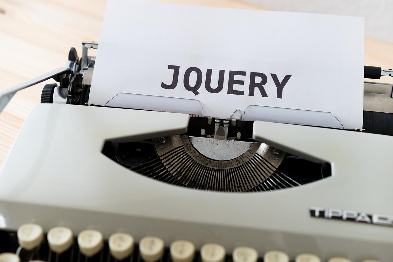 タイプライターで打ち込まれたJQUERYの文字