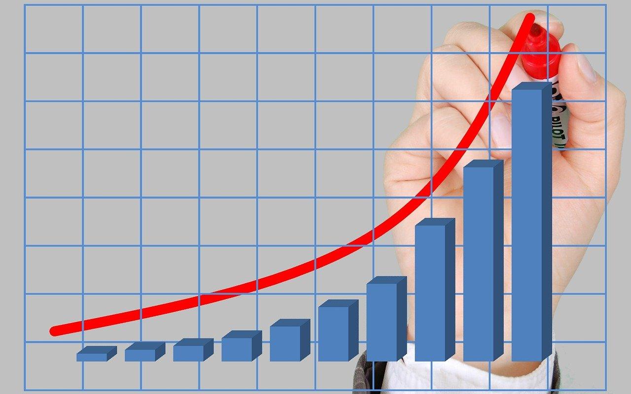 棒グラフに右肩上がりの線を書き入れる手