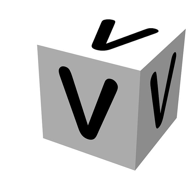 letter, block, v