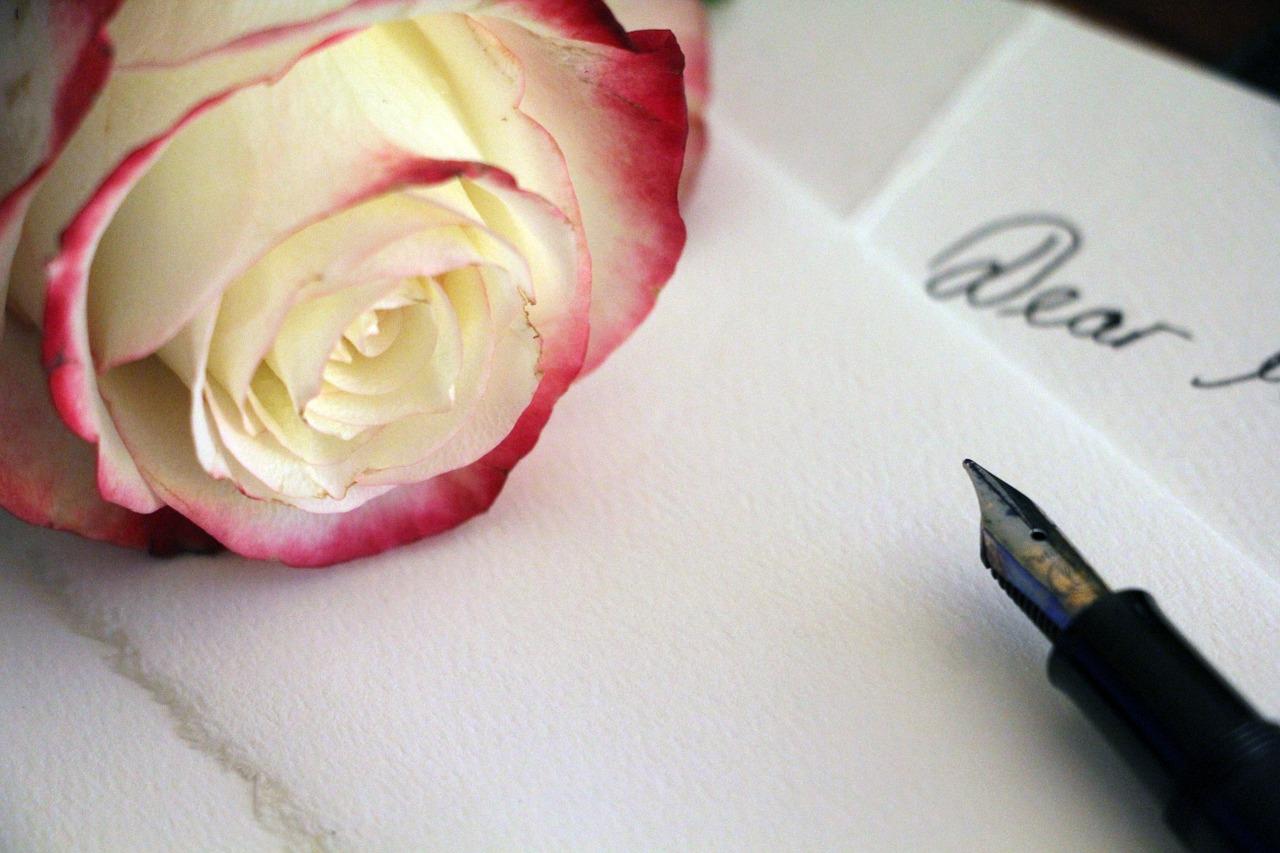 白とピンクの薔薇・万年筆・便箋
