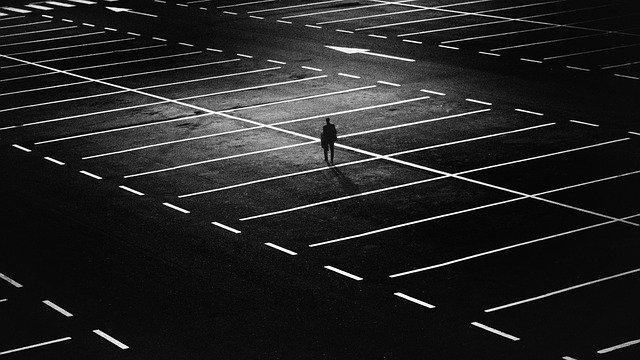 parking space, man, city