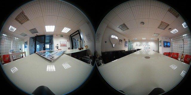 spherical 360 degree photo, office, desk