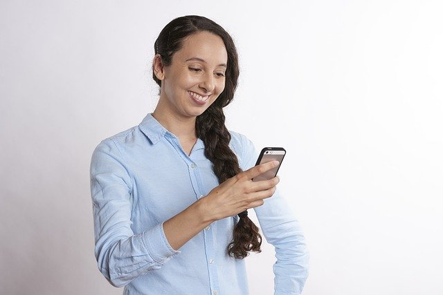 texting, smiling, phone