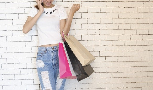 girl, shopping bags, standing